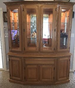 Amish Handmade Solid Oak 2 pc Hutch