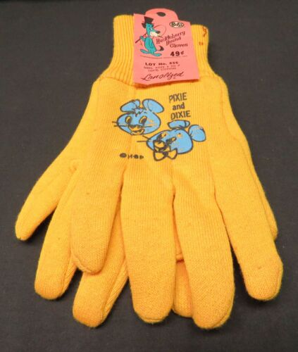 VTG Childs Pixie/Dixie Hanna Barbera Productions Huckleberry Hound Yellow Gloves
