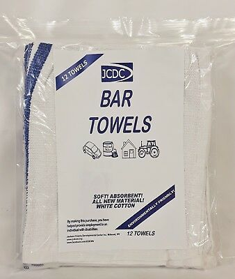 12 Count Bag 100 White Cotton Bar Towels