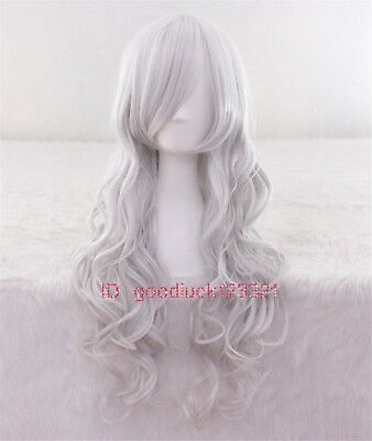 75cm Long Black Cat Silver Wavy Curly Heat Resistant Anime Cosplay Wig+a wig cap
