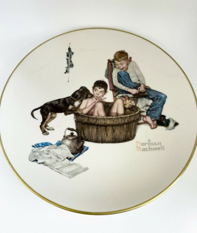 """Norman Rockwell Gorham 1975 Four Seasons """"Winter"""" Collectors Decorative Plate"""