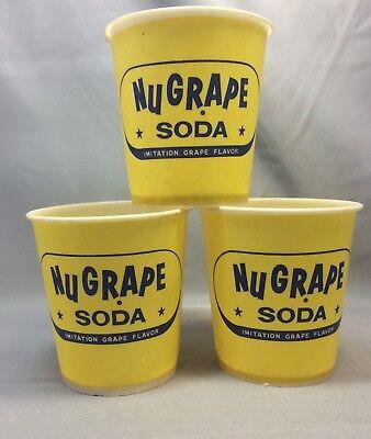3 Vintage Original NuGRAPE Advertising Soda Paper Cups grape