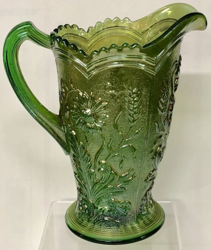 Vintage Green Imperial Carnival Glass Field Flower Pattern Water Table Pitcher