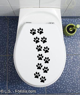 Katzenpfoten WC Deckel Aufkleber Wandtattoo Toilettendeckel Sticker Bad Klo
