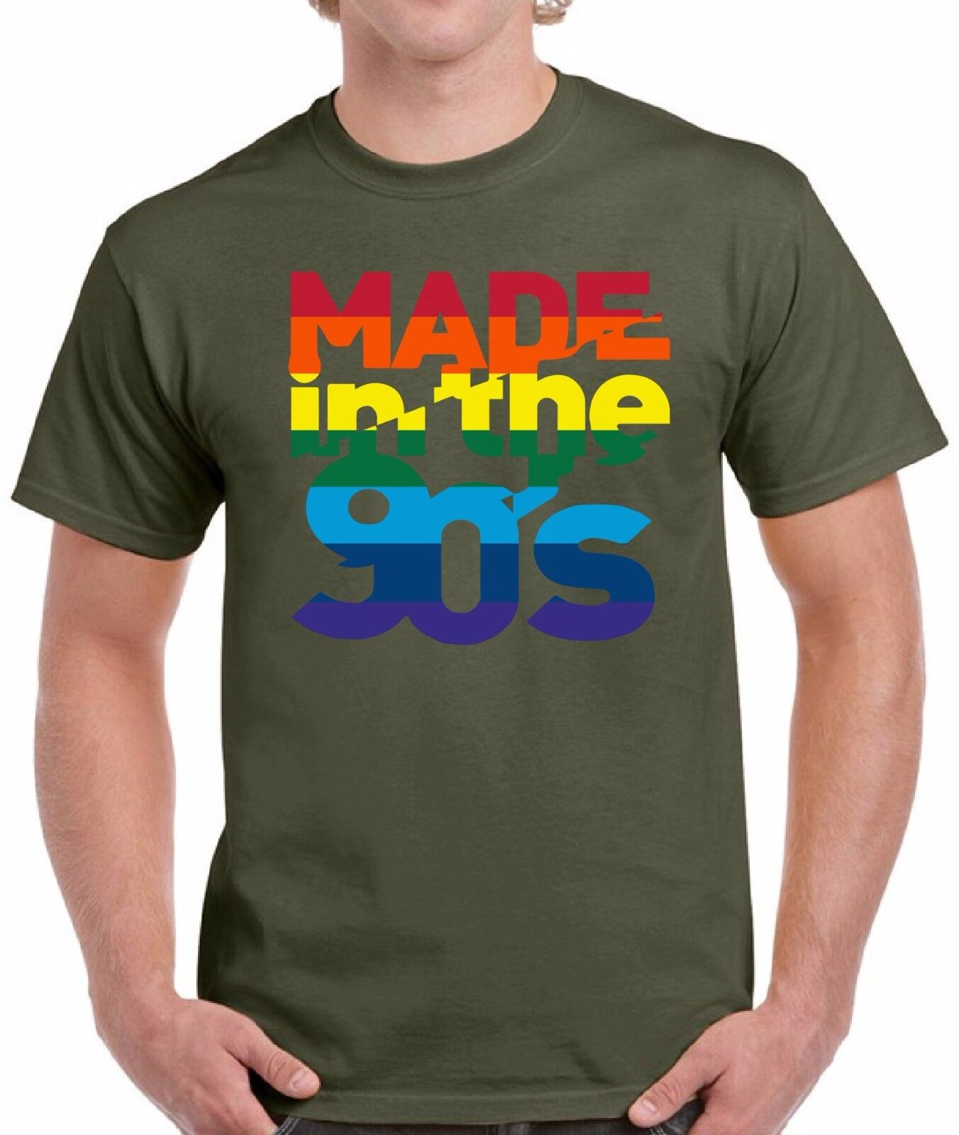 Made In The 90's Rainbow Shirts Tops T-shirts for Men Men's