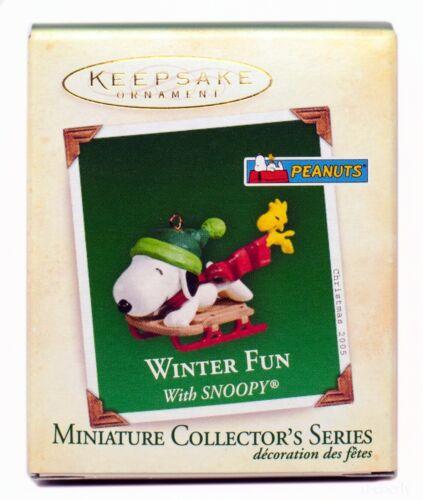 Winter Fun with SNOOPY NEW Hallmark Miniature 2005 Ornament WOODSTOCK Sledding