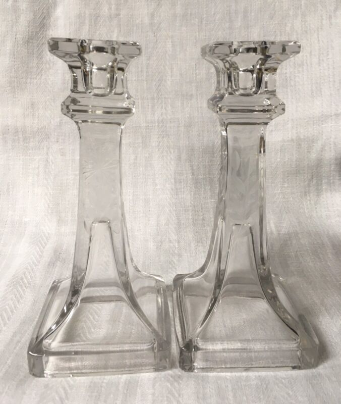 VINTAGE ANTIQUE ETCHED CLEAR GLASS CANDLE STICKS NICE Set of 2