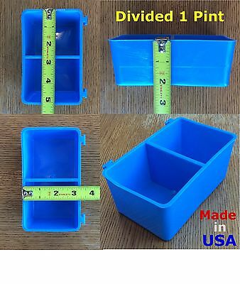 50 Pcs Blue Divided 1 Pint 16 Fl Oz Hanging Feed Water Cage Cups Chicken