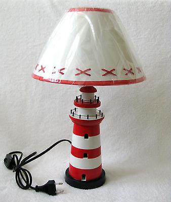 Leuchtturm Lampe rot/weiß ca. 40cm Tischlampe Holz