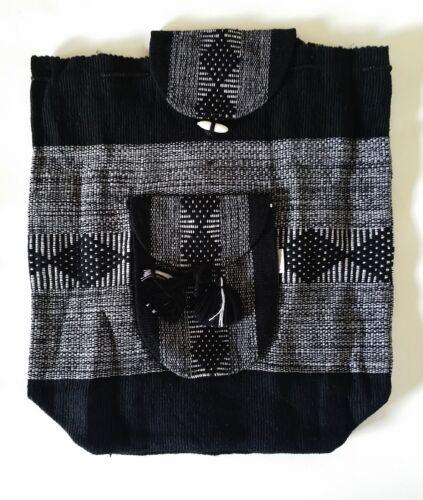 Mexican Backpack Handmade Bag Tote Black & White Blanket Boho Hippie Morral