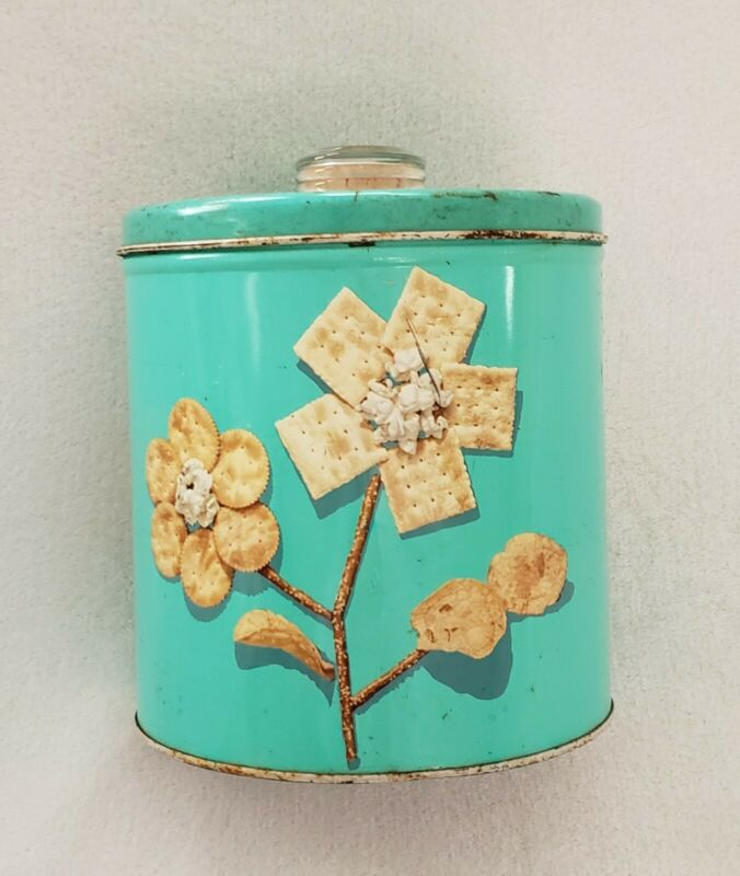 Vintage Blue Magic Krispy Kan with Blue Magic Dri-Nob Turquoise Canister 1949