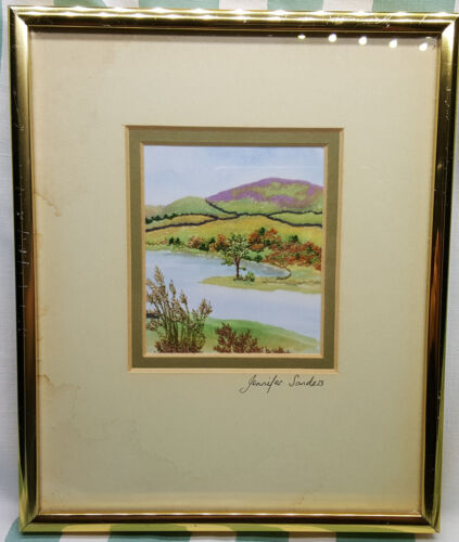 Vintage Hand Embroidery on the silk Devon landscape picture. Signed.