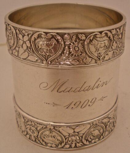 "WONDERFUL GORHAM STERLING LARGE HEAVY ZODIAC PATTERN  NAPKIN RING ""MADALIN 1909"""