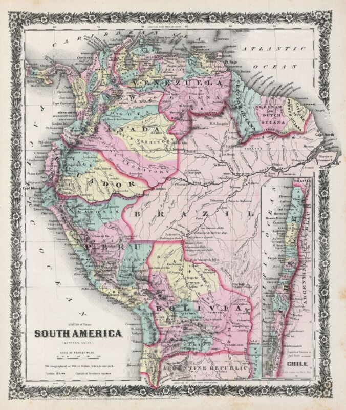 1858 Colton Map of South America