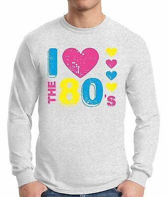 I Love the 80's Long Sleeve T shirts Tops Shirts Men's 80s Party Costume Disco - I Party Costumes