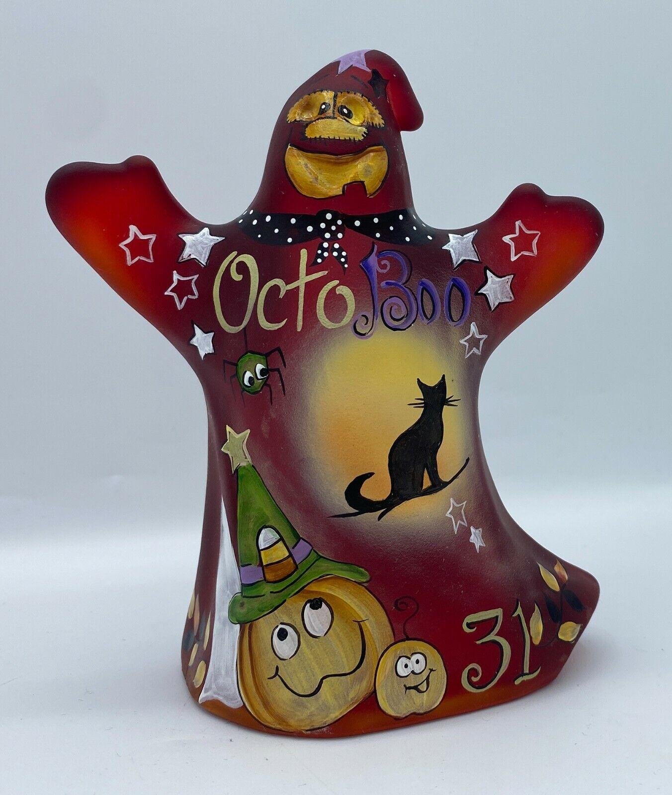 Fenton Art Glass OOAK Painted Ruby Glass OctoBoo Ghost Figurine By Kim Barley - $170.50