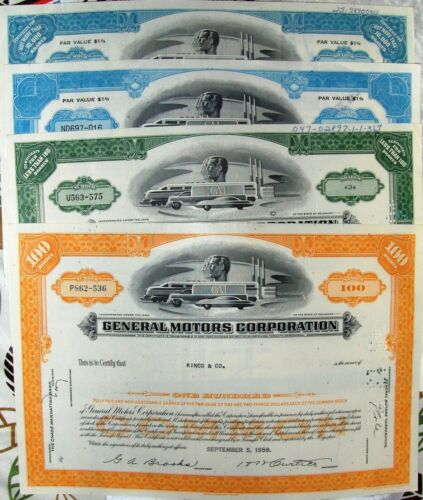Four all different stock certificates. The General Motors Stock certificate