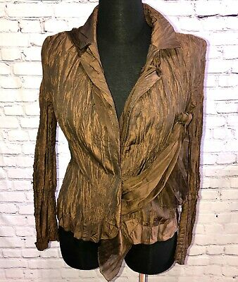 Alberta Makali L Crinkle Pleated Jacket Blazer Brown Bronze Collared Unique Top -