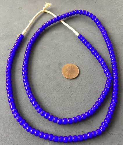 6mm Ghana African cobalt Blue White Heart glass African trade beads