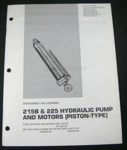 CAT Caterpillar 215B 225 Hydraulic Pump Motors Assembly Disassembly Manual