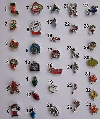 Holiday/Christmas/Halloween Floating Charms for Lockets BUY 3/GET 1 FREE!! USA