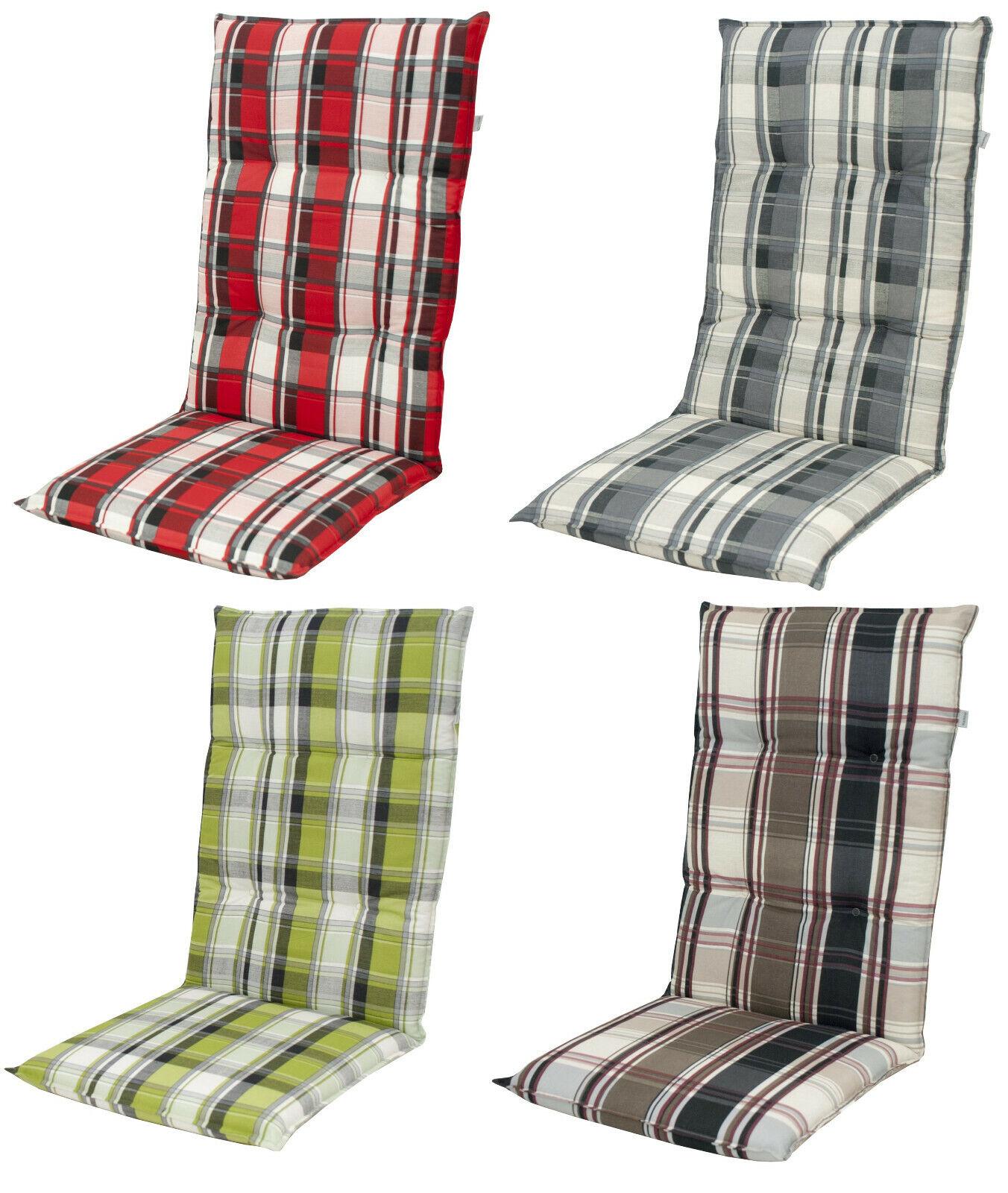 Doppler Gartenmöbel Auflagen für Hochlehner Kissen Sitzkissen Gartenstuhl karo