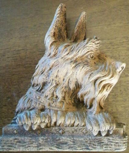 Pre Owned Vintage Syroco Wood Scottie Dog Scottish Terrier Dog Brush Holder