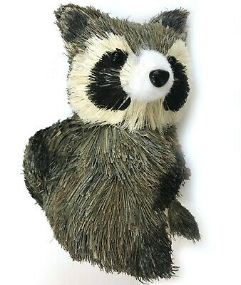 Autumn Sisal Raccoon Natural Animal Decor Wreath Table Christmas