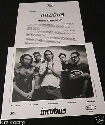 INCUBUS 'MAKE YOURSELF' 1999 PRESS KIT--PHOTO