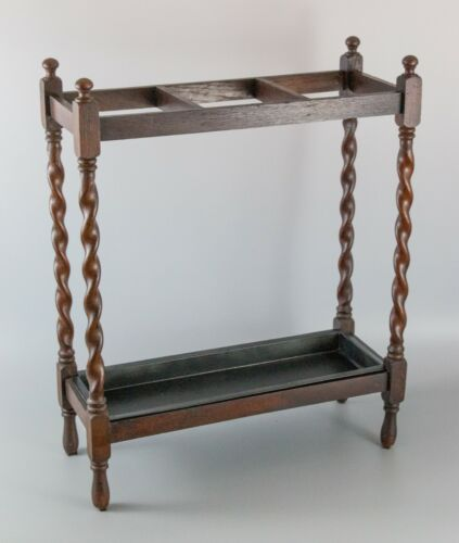 Antique English Oak Barley Twist Umbrella Stick Stand