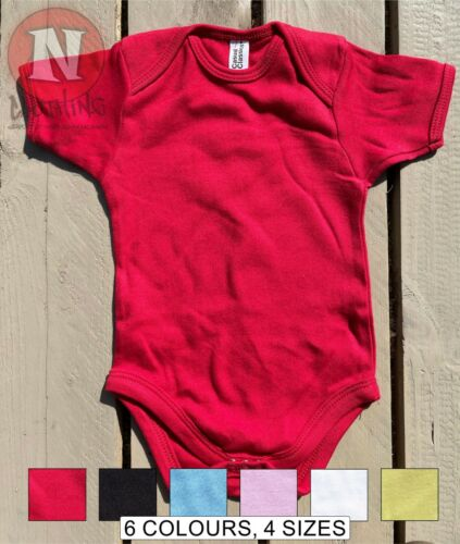 Blank Babygrows babysuit Plain Soft 100% Cotton babyvest 6 colours 4 sizes