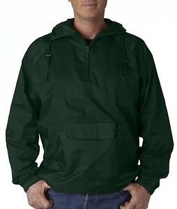 UltraClub Men's 1/4-Zip Hooded Pullover Pack-Away Solid Jacket 8925