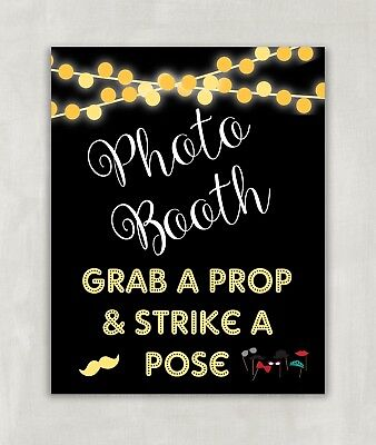 Photo Booth Sign, Wedding Party Sign, Grab a Prop & Strike A Pose 8x10 UNFRAMED ()