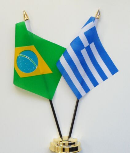 Brazil & Greece Double Friendship Table Flag Set