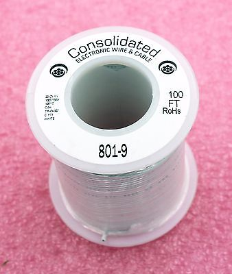 Solid Core WHITE Wire 22 Gauge 100ft Spool (JW100WT)