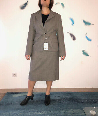 Luxurious Skirt Suit Wool Grey Marella Size 42 Fr 48i New Value