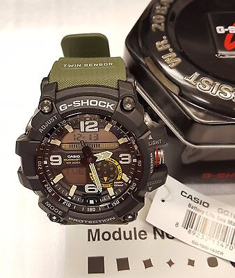 Casio G-Shock Men's Mudmaster Twin Sensor Green Resin Watch - GG1000-1A3CR