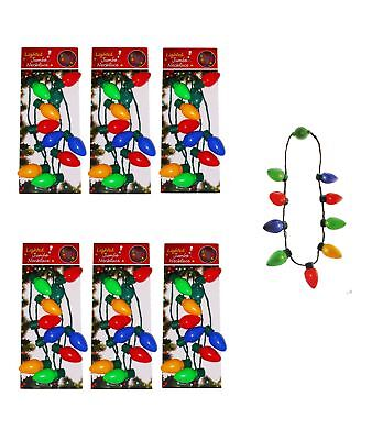 6 Pc Christmas Necklace Lighted Xmas Bulbs Kids Adults Party Favors Light Up](Light Up Necklaces Bulk)