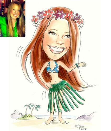 "One Custom Caricature Hand Drawn from your Photo 11""x17"" Digital Download 300dpi"