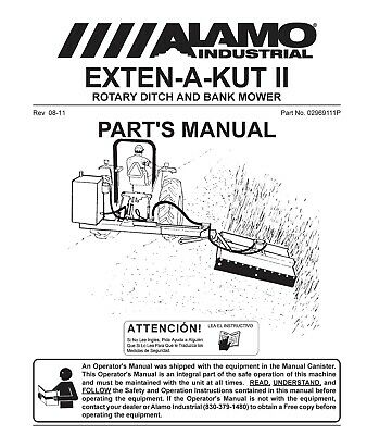 Alamo Exten-a-kut Ii Rotary Ditch Bank Mower Service Parts Manual