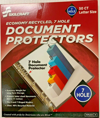 Skilcraft 7 Hole Document Protectors 50/PK, 8 1/2 x 11, Letter Size