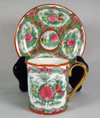 Vintage Rose Medallion Demitasse Cup & Saucer Set Marked & Numbered