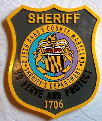 Police Department Queen Anne's County routed wood  patch plaque sign Custom