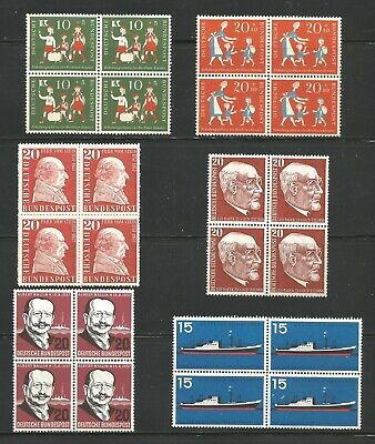 Germany Bund. Lot of 6 blocks , including 1 compl. set. All VF MNH