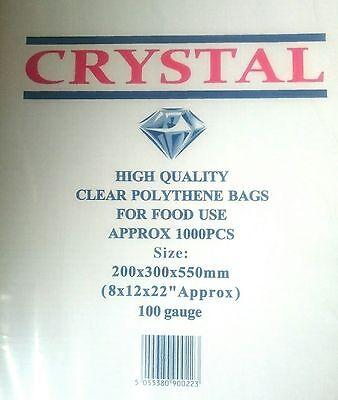Crystal 1000x LDPE Poly Bags Polythene 8x12x22