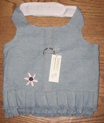 NEW Doggles Blue Jean Fringe Flower Dog Harness Dress (Pick Size S, XS, XXS, -