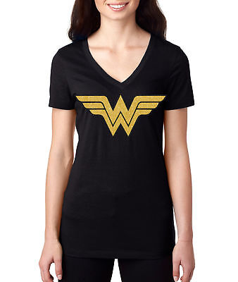 Wonder Woman logo superhero comic Graphic ladies giltter v neck tee shirt new