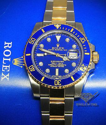 Rolex Submariner 18k Yellow Gold/Steel Blue Ceramic Diamond Watch +Box 116613