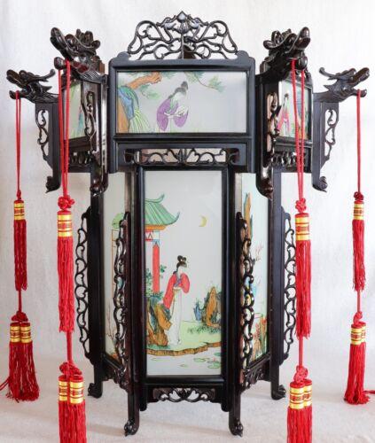 "Large Vintage Chinese Cantonese Painted Women Glass Rosewood Palace Lantern 30"""
