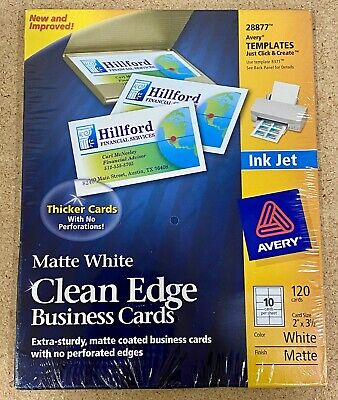 Avery 28877 Business Cards 120 Clean Edge Matte White Ink Jet 2 In X 3 12 In
